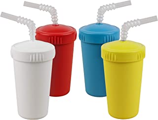 product image for Re-Play Made in USA 4pk Straw Cups with Reversible Straws| Made from Eco Friendly Heavyweight Recycled Milk Jugs - Virtually Indestructible| White, Red, Sky Blue and Yellow | Playdoh+