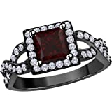 DS Jewels 2.00 Ct Princess Cut Halo Pave Eternity Ring Cubic Zirconia Split Shank Engagement Ring in 14k Black Gold Rhodium Plated Alloy Size 4-12