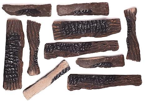 Amazon.com: Large Gas Fireplace Logs 10 Piece Set of Ceramic Wood ...