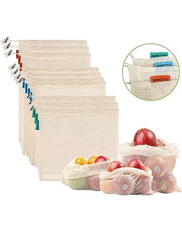 NEWSTYLE Bolsa de Producción Reutilizable,Juego de 10 Bolsas de Malla Reutilizables Perfectas para Productos