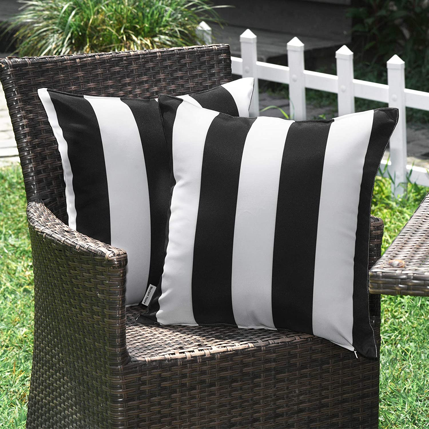 WESTERN HOME WH Outdoor Pillow Covers 18x18 Waterproof, Stripe Square Pillowcases Patio Throw Pillow Covers Cushions for Couch Bench Tent Garden - Pack of 2 Pillow Covers Black