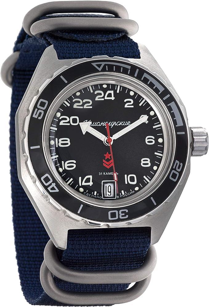Amazon.com: Vostok Komandirskie Automatic 24 Hour Dial Russian Military Wristwatch WR 200m (650541 Blue): Watches