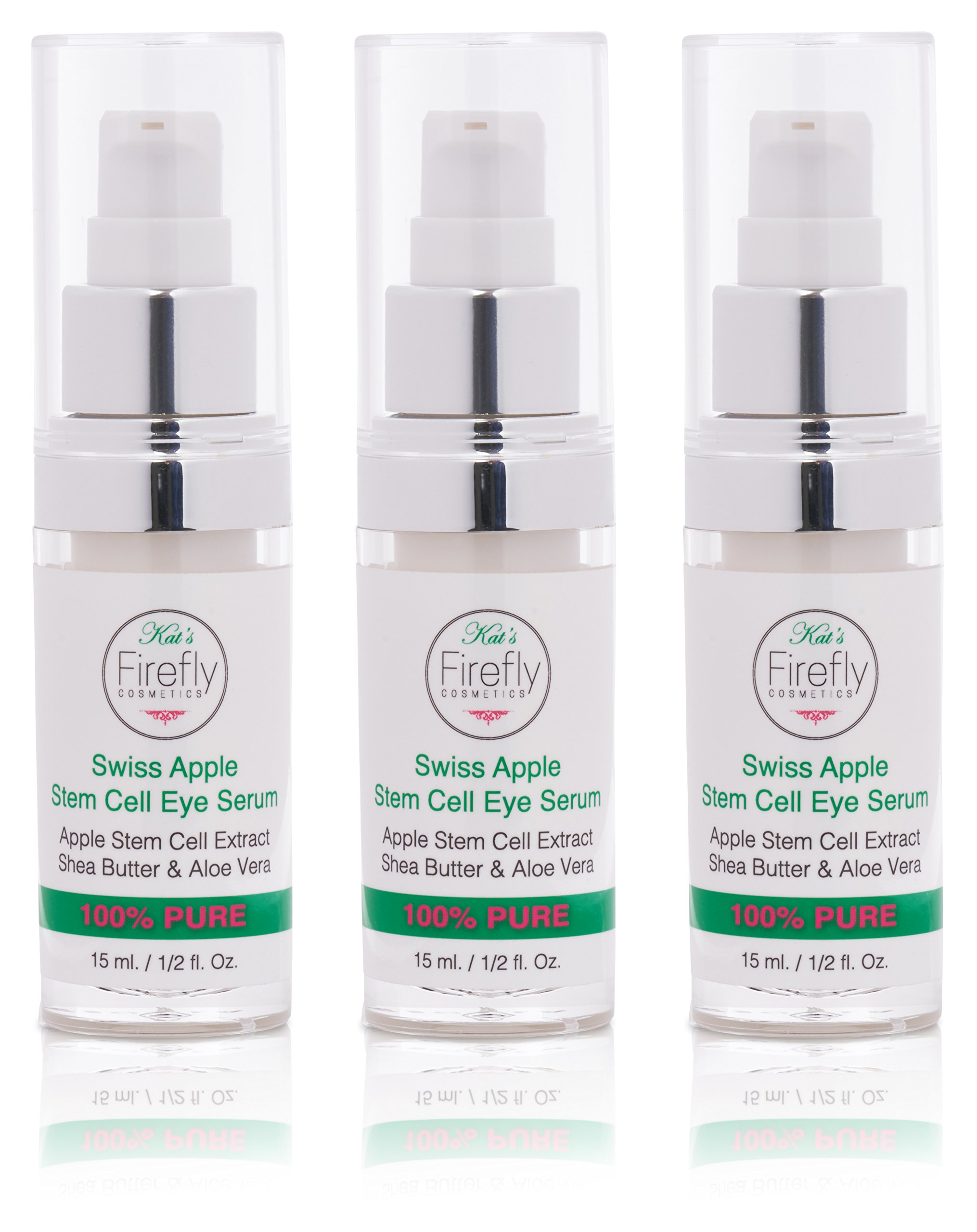 Kat's Firefly Cosmetics Stem Cell Eye Serum-Helps Reduce Wrinkles, Fine Lines, Dark Circles & Reduces Puffiness & Sagging Under The Eyes. Made With Shea Butter & Swiss Apple Technology 15ML.