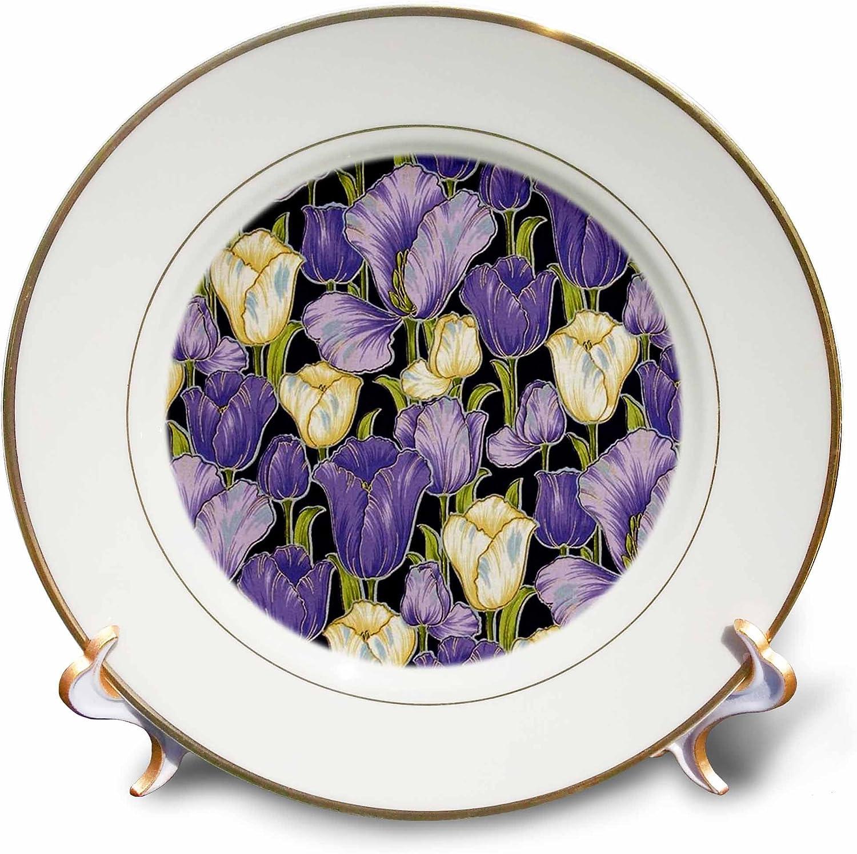 8-Inch 3dRose cp/_60528/_1 Oriental Purple N Ivory Irises Porcelain Plate