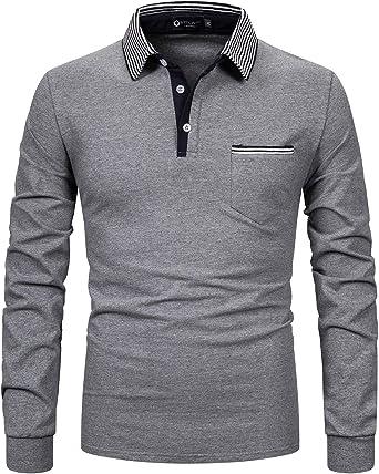 STTLZMC Hombre Camisetas y Polos Mangas Largas Casual Cuello en Contraste Golf Tennis Oficina Botón Camisas: Amazon.es: Ropa y accesorios