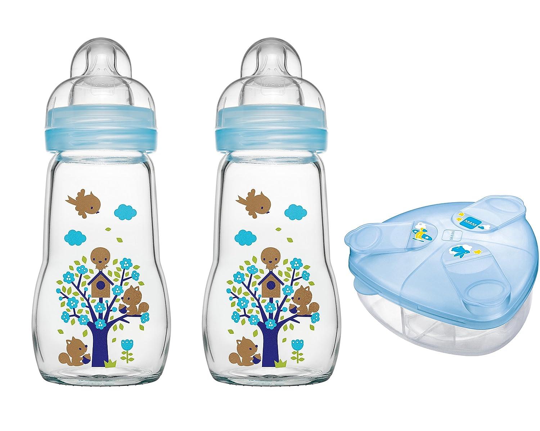 MAM Set - 2 x Feel Good Glass Bottle 260 ml Glas Flasche & Milchpulversender für Jungen MAM Babyartikel