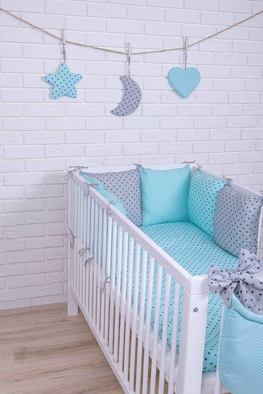 Amilian® Baby Bettwäsche Design35 Nestchen Bettset 100x135 für Babybett Decke Kissen Bettumrandung