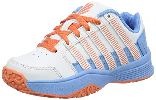 K-Swiss Performance Court Impact LTR Omni, Scarpe da Tennis Bambina, Bianco (White/Bonnie Blue/Fusion Coral), 30 EU