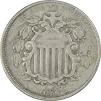 1866 With Rays 5c Shield Nickel Coin F Fine