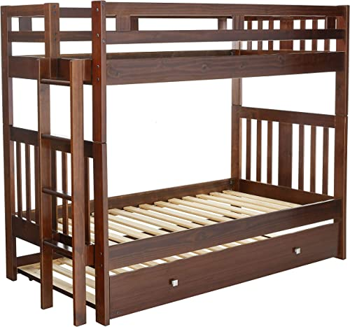 Donco Kids 215-TTCP/EXT_503-CP Mission Bunk Bed withTrundle Twin/Full/Twin Dark Cappuccino