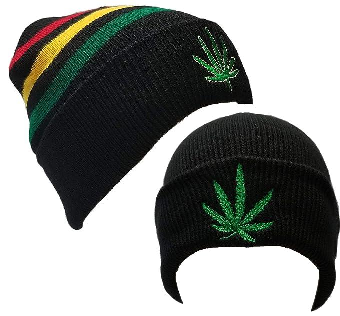 c23fa794d 2pcs Rasta Weed Leaf Pot Cannabis Marijuana Cuffed Beanie Beanies ...