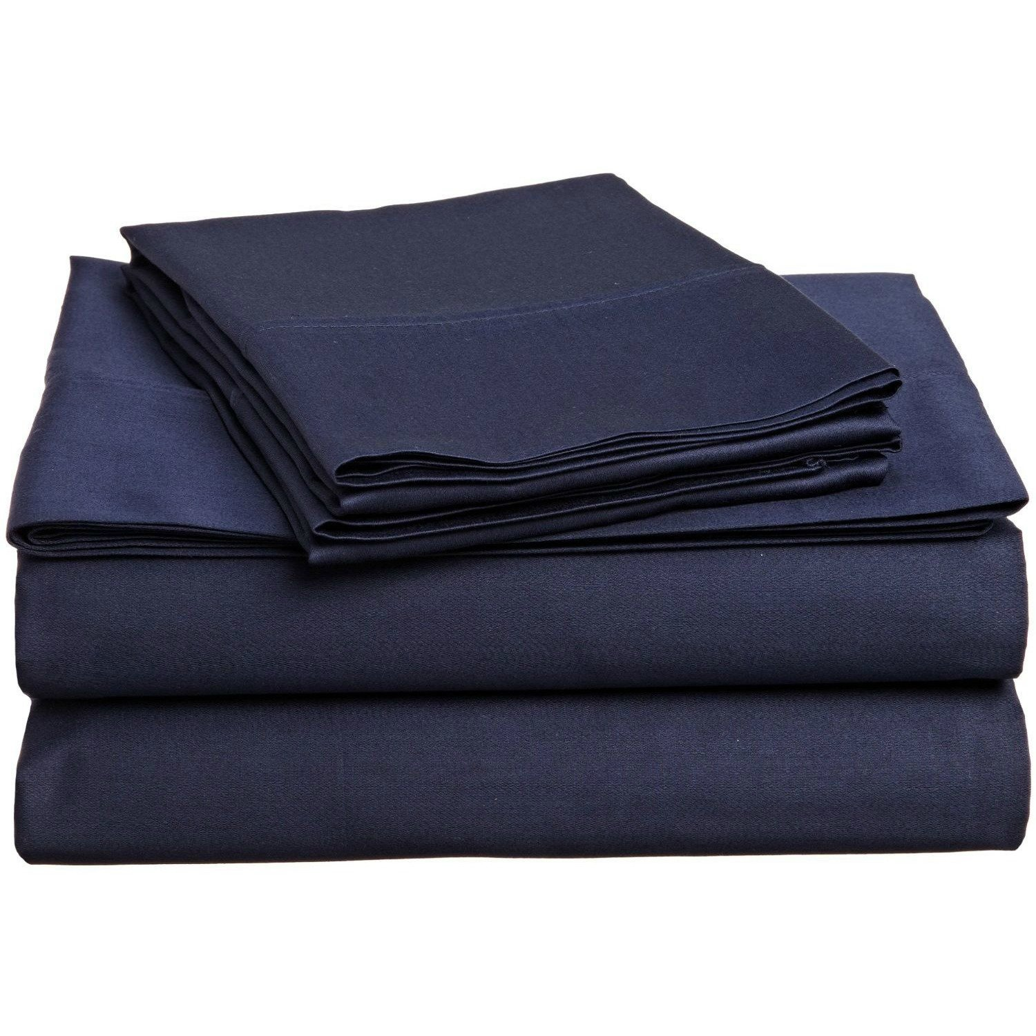 3 Piece Twin Navy Blue Bed Sheet Set, Ultra cozy, super soft, lightweight, durable, satiny smooth, Fully Elasticized, Sateen weave with 300 thread count, Royal Blue, Cotton