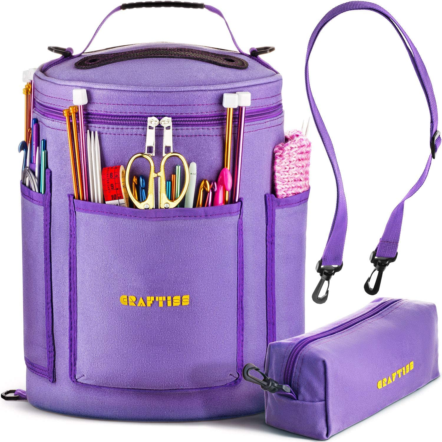 Organizer Bag for Crafts Sewing Paper Art Sewing Accessories Organizer Household Fabric Crafts Knitting Bag Needles Yarn Storage Purple flower