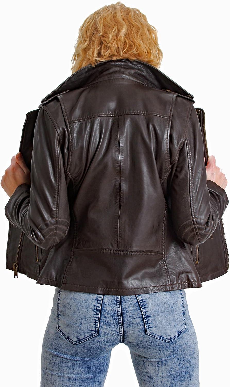 Faneema Womens Riva Moto Leather Jacket Espresso Brown