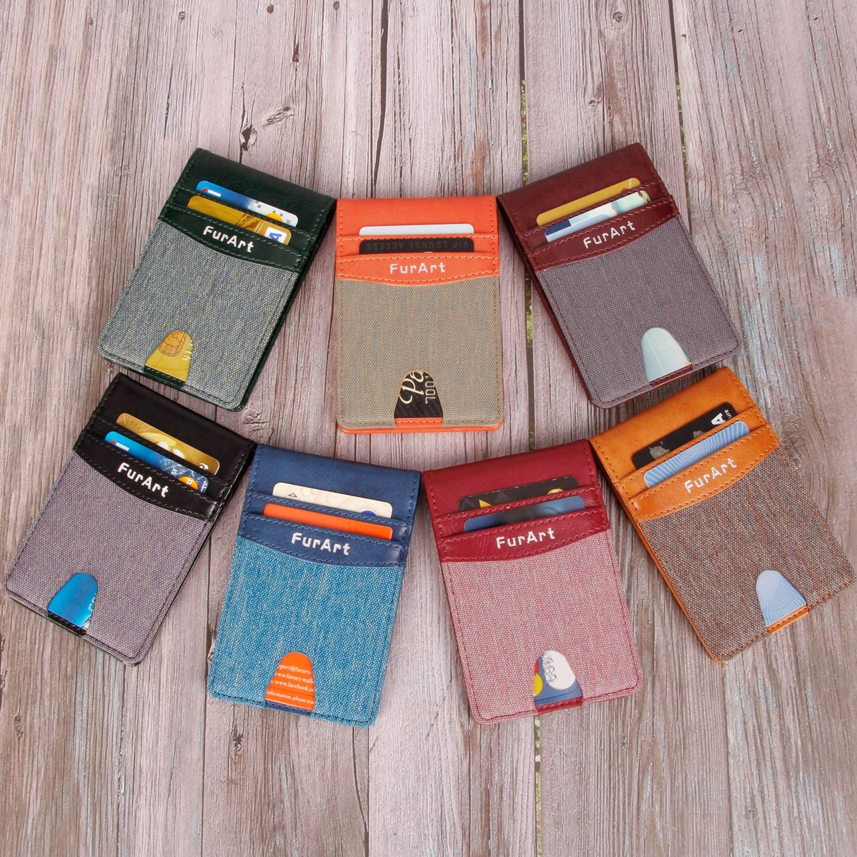 FurArt Slim Bifold Minimalist Front Pocket Wallets RFID Blocking Wallet Credit Card Holer for Men Women