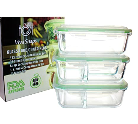 Versatile 3 Glass Meal Prep Container Set W/1, 2 And 3 Compartments│
