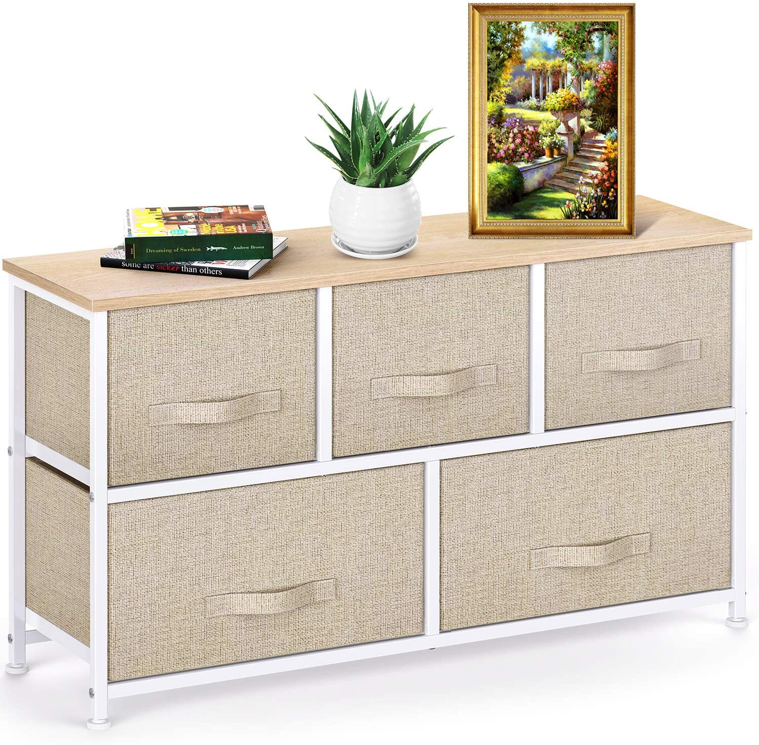 Fabric Dresser with 5 Drawers, Wide Dresser Storage Tower, Organizer Unit with Wood Top and Easy Pull Handle for Closets, Living Room, Nursery Room, Hallway by Pipishell: Home Improvement