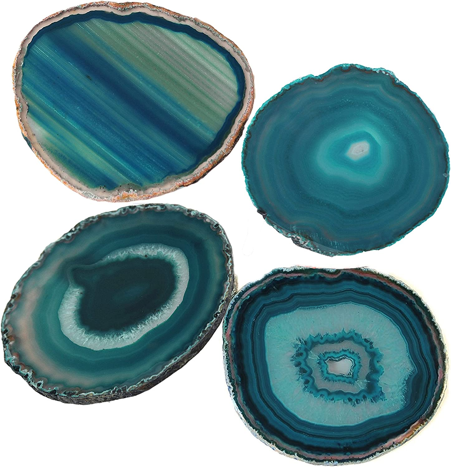 """AMOYSTONE Teal Agate Coaster 3.5-4"""" Dyed Sliced Genuine Brazilian Aqua Agate Drink Coasters with Rubber Bumper Set of 4"""