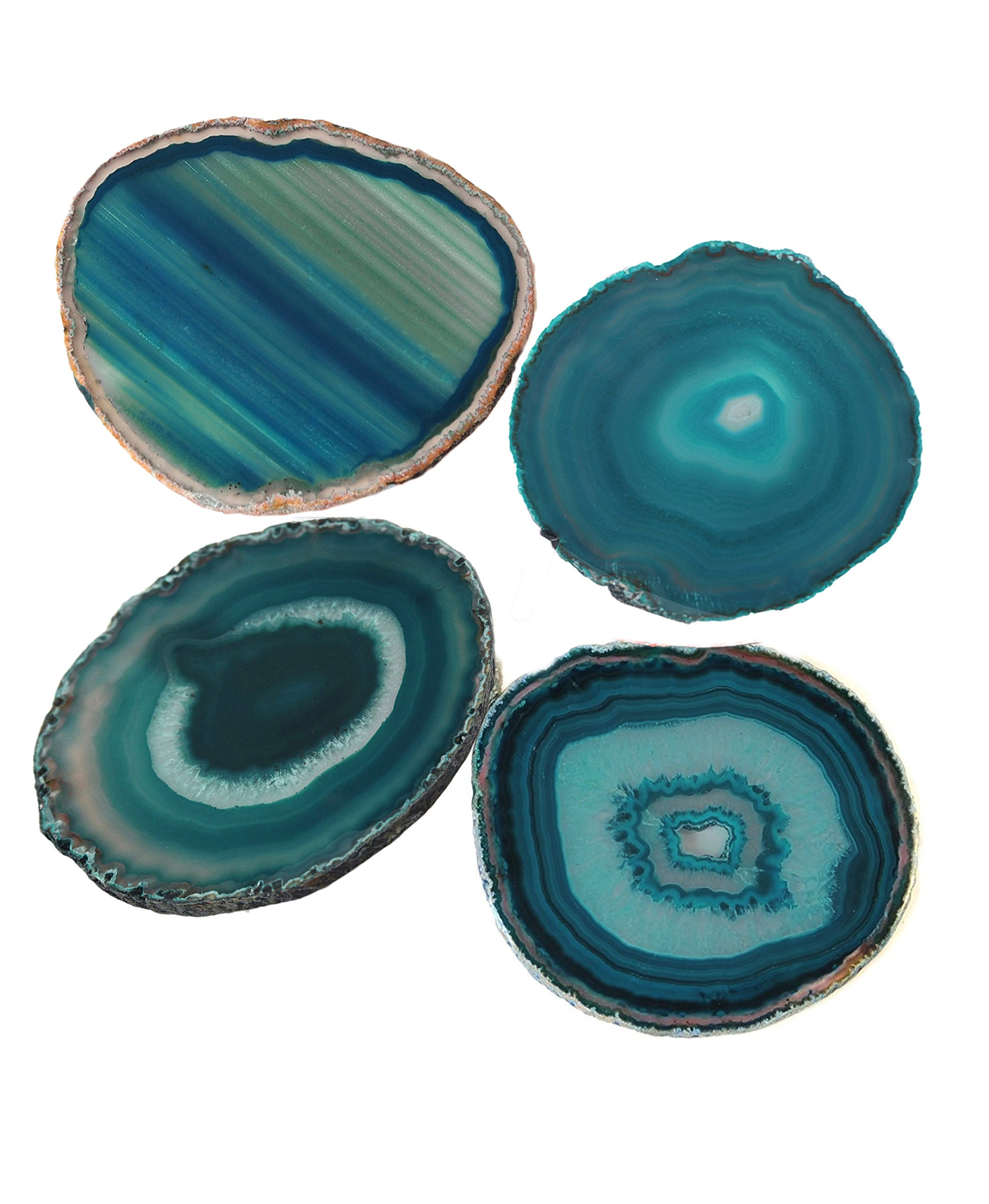 AMOYSTONE Teal Agate Coaster 3.5-4'' Dyed Sliced Genuine Brazilian Aqua Agate Drink Coasters with Rubber Bumper Set of 4