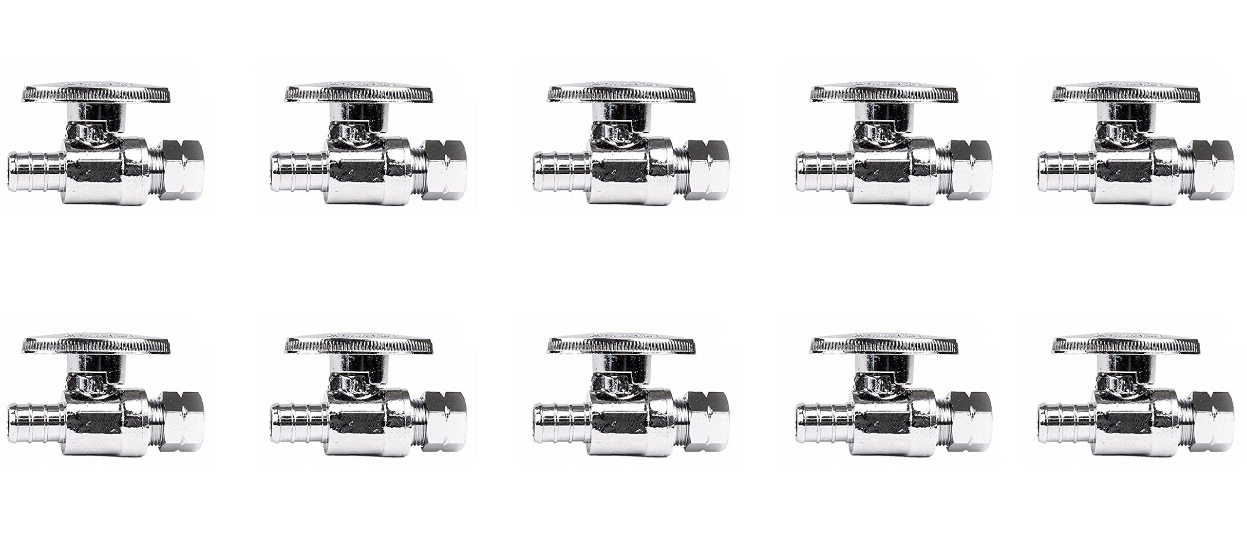 1/2'' x 3/8'' Lead Free PEX Straight Stop Valves, Brass, 10 pcs