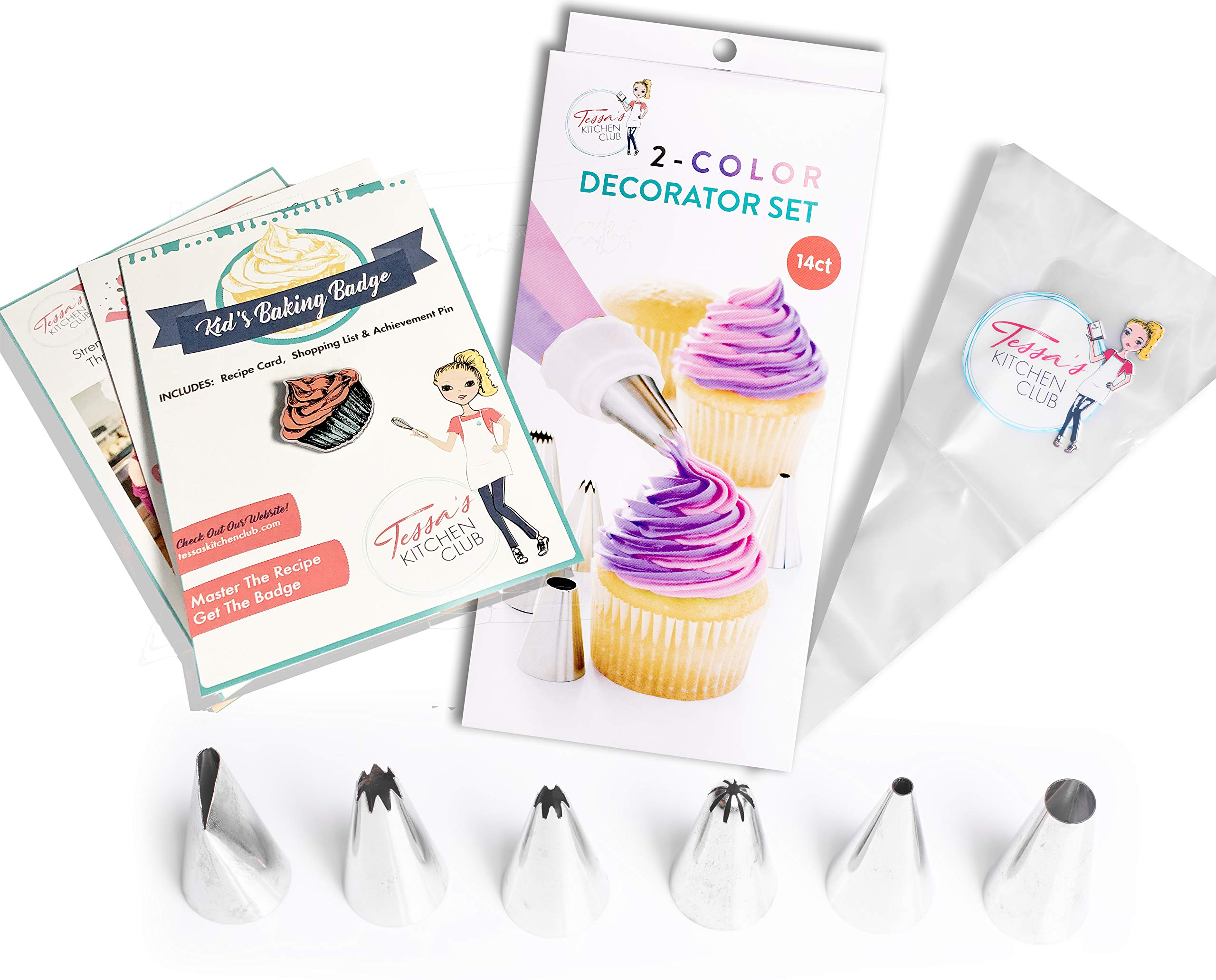 Tessa's Kitchen Club Kids Chef Baking Kits, Achievement Pin with Professional Chef Hat Apron and Accessories (Piping Set) by Tessa's Kitchen Club