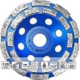 S&R Disque Diamant 125 à Meuler le Béton. Meule Abrasive à Poncer Béton, Pierre, Granit. 2 rangées diamantés.