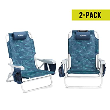 Lightspeed Outdoors 2-Pack Adjustable Backpack Beach Chairs (Blue Wave)