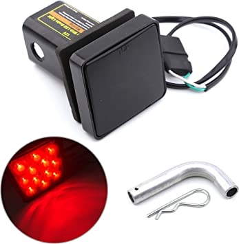 """Smoked Lens 12-LED Brake Light Trailer Hitch Cover Fit Towing 2/"""" Size For Truck"""