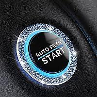 Bling Car Decor Crystal [2 Row Rhinestones] Ring Emblem Sticker,Bling Car Accessories for Women,Car Interior Decoration…