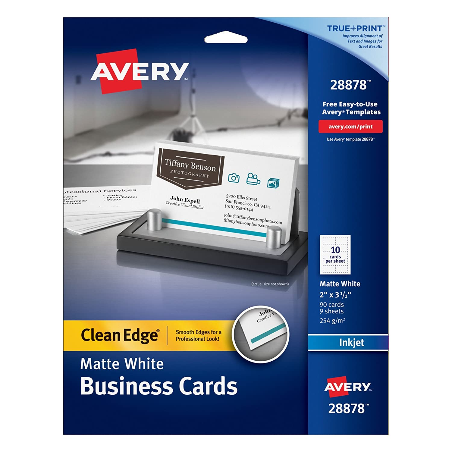Amazon avery clean edge business cards 2 inches x 3 12 amazon avery clean edge business cards 2 inches x 3 12 inches white 90 cards 28878 business card stock office products fbccfo Image collections