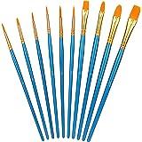 Amazon Basics Paint Brush Set, Nylon Paint Brush for Acrylic, Oil, Watercolor, Gouache, 10 Brush Sizes, 6-Pack