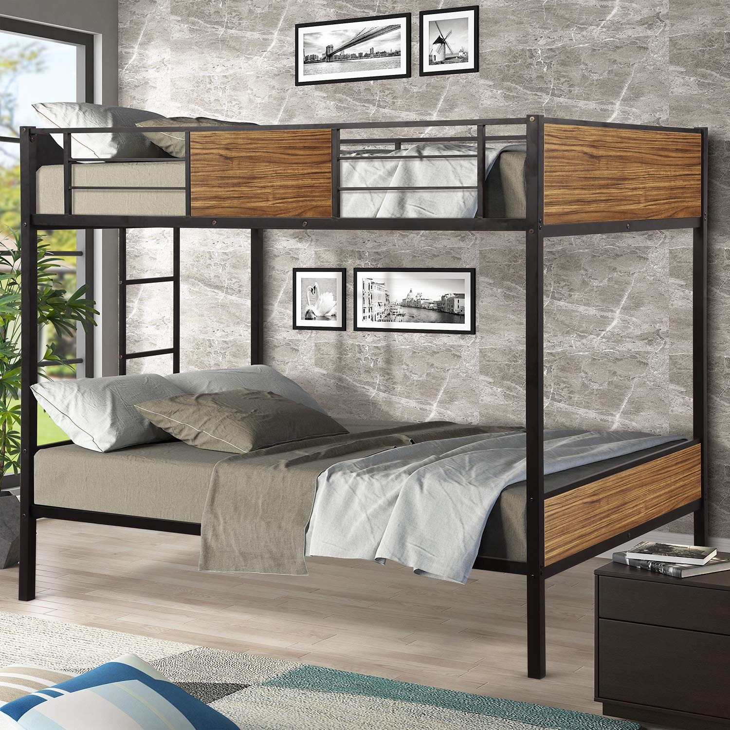 Full Over Full Metal Bunk Bed with Safety Rail, WeYoung Modern Style Full-Over-Full Bunkbed Frame Steel Built-in Ladder for Bedroom