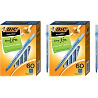 BIC Round Stic Xtra Life Ballpoint Pen, Medium Point (1.0mm), Blue, 60-Count - 2 Pack