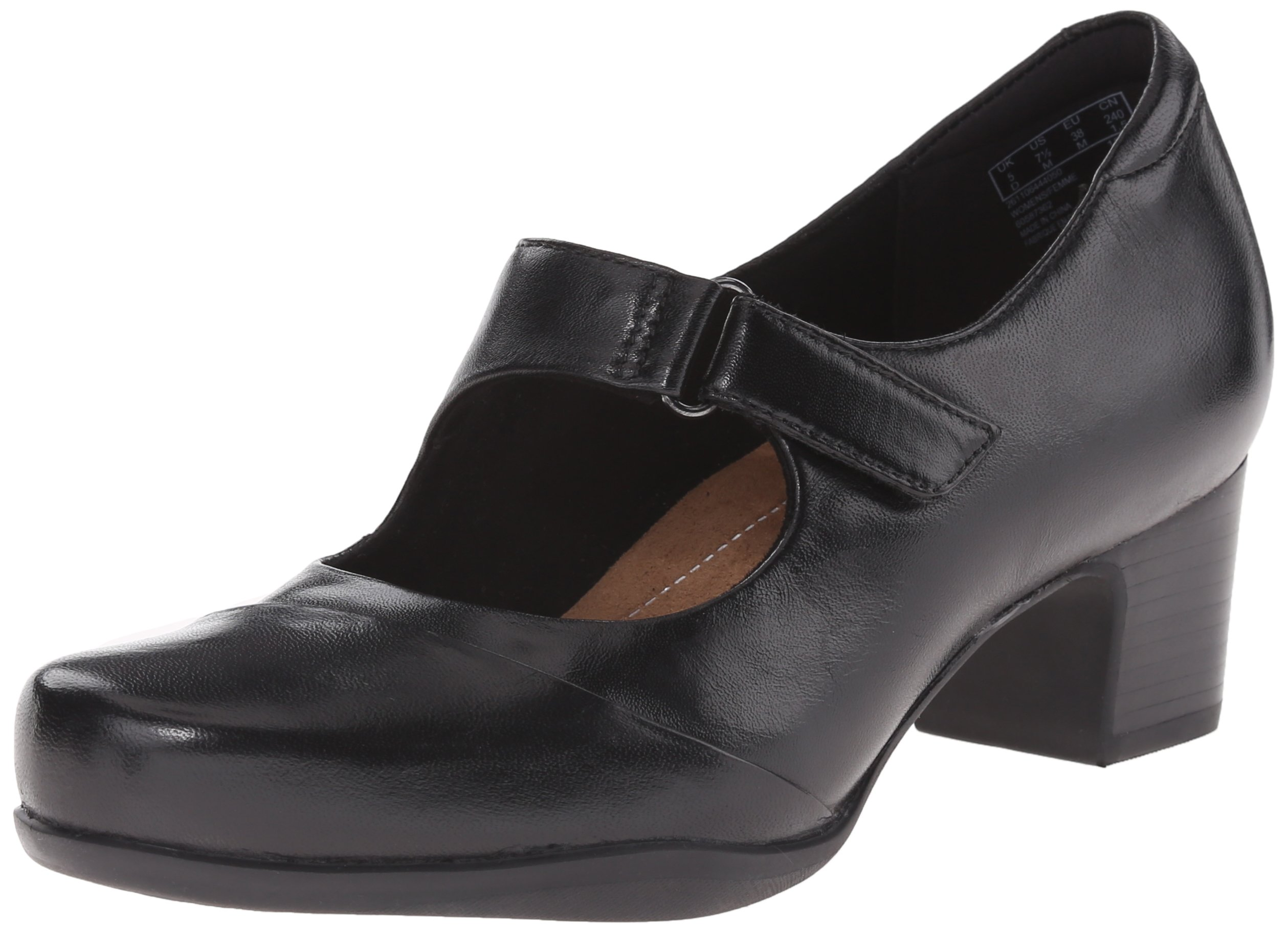 Clarks Women's Rosalyn Wren Pump, Black Leather, 9.5 W US