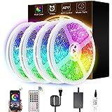 LED Light Strips, PATIOPTION LED Strips 65.6ft/20M SMD 5050 12V Adhesive DIY Color Changing Flexible 44 Keys Remote & Bluetoo