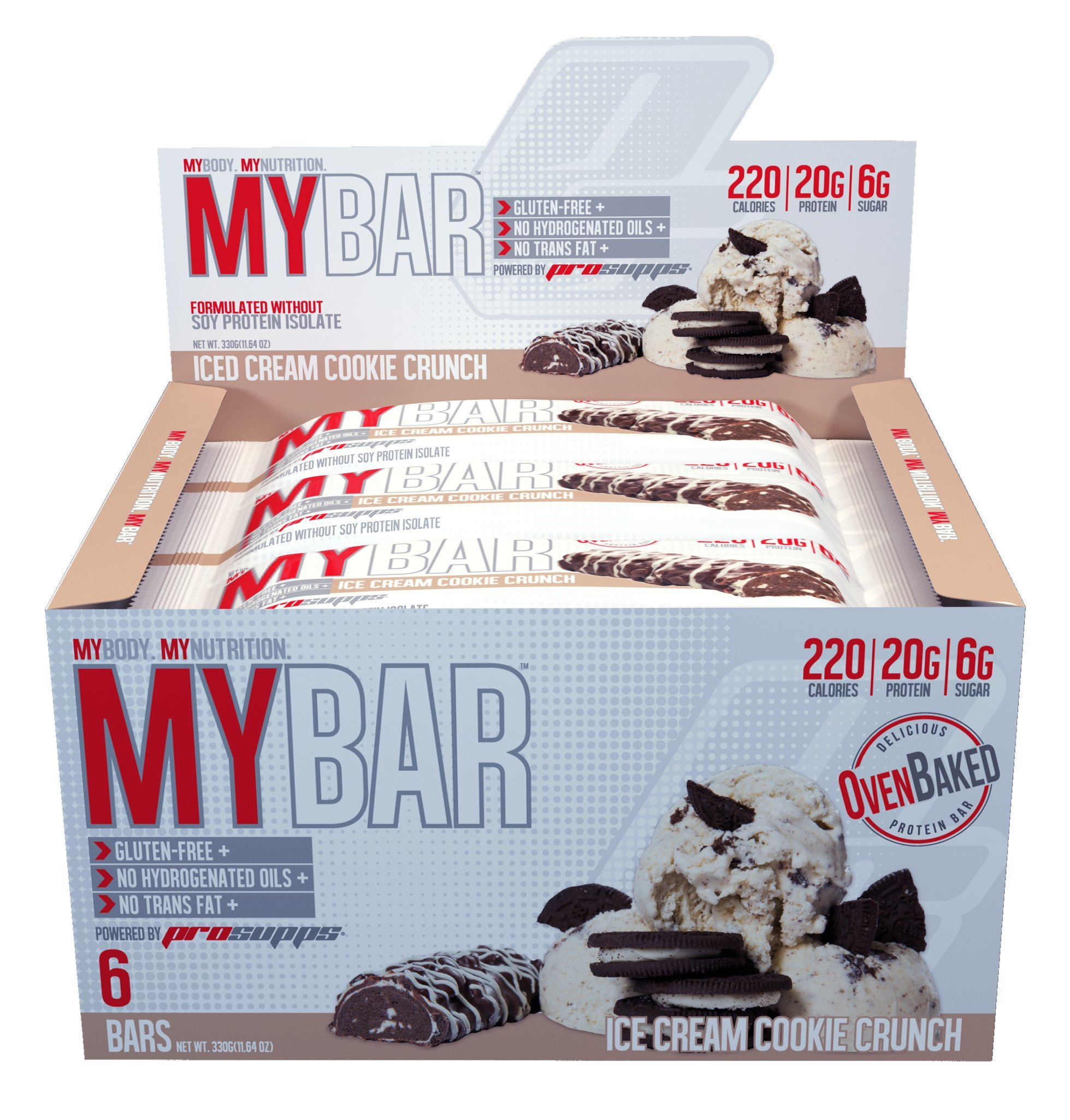 Pro Supps MYBAR Delicious Oven Baked Protein Bar (Ice Cream Cookie Crunch), 20g Protein, Only 6g Sugar, Gluten-free, No Trans Fat, Healthy on-the-go Snack. 6 Count, Net WT 1.94 ounces