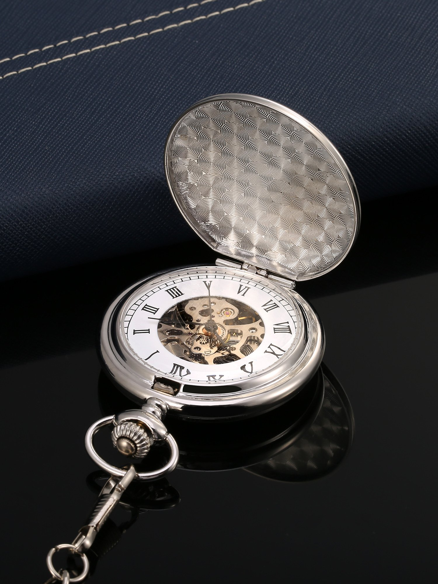 Mudder Classic Smooth Surface Mechanical Pocket Watch with Chain Xmas Birthday Wedding Father Day Gift (Silver) by Mudder (Image #3)