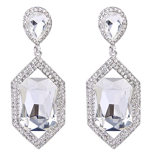 99817d148 Amazon.com: BriLove Women's Wedding Bridal Dangle Earrings with Crystal  Emerald Cut Infinity Figure 8 Hollow Chandelier Clear Silver-Tone: Jewelry