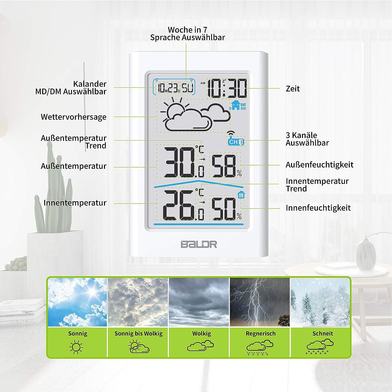 Wei/ß Wecker und Nachtlicht BALDR Wetterstation Funk mit Au/ßensensor Digital Thermometer Hygrometer Innen und Au/ßen Raumthermometer Hydrometer Feuchtigkeit mit Wettervorhersage Uhrzeitanzeige