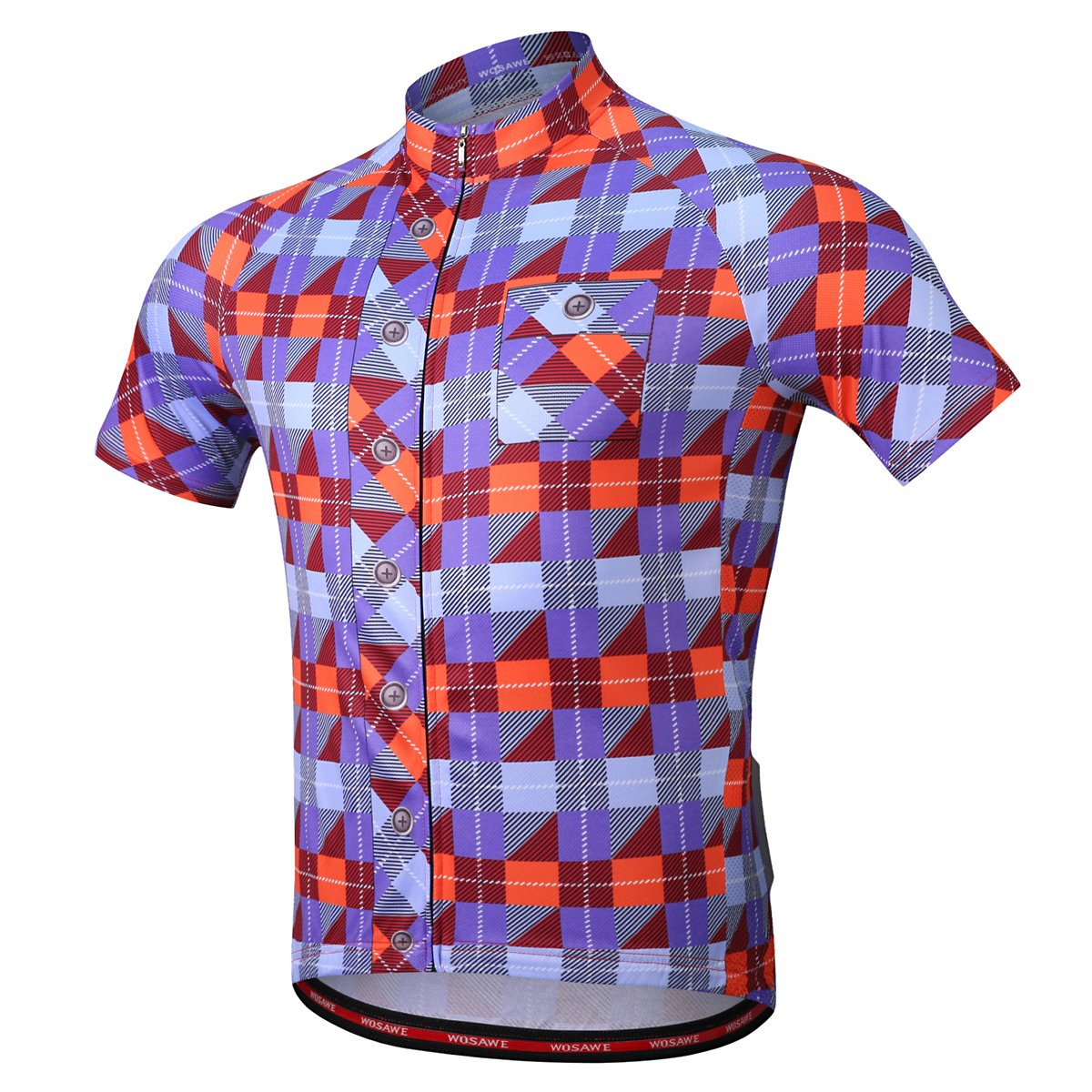 fc1e734a2 Amazon.com  WOSAWE Men s Plaid Cycling Jersey Short Sleeves Printed Bike  Shirts  Clothing