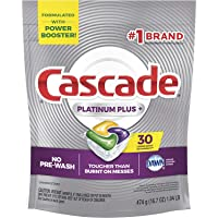 Cascade Platinum Dishwasher Pods, Actionpacs Dishwasher Detergent, Lemon Platinum Plus (.01 Pack, 30 Count)