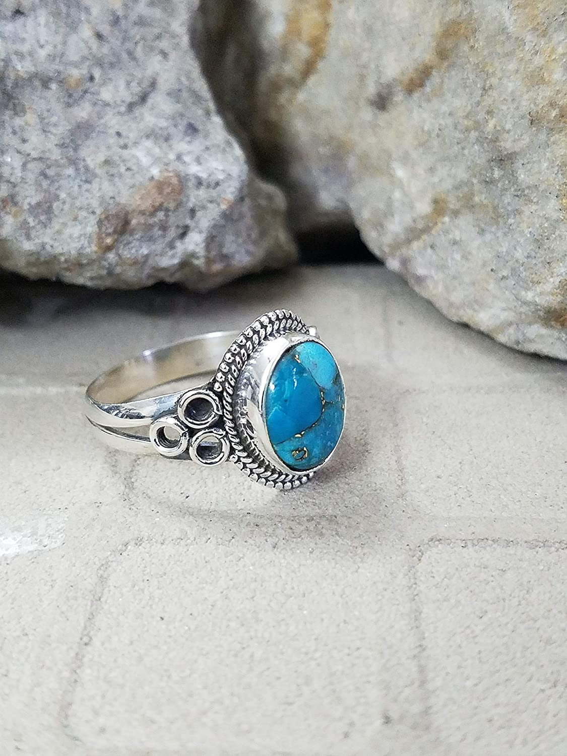 Blue Copper Turquoise Ring, 925 Sterling Silver Ring, Fashionable Ring, Stylish Ring, Anniversary Gift, Attractive Ring, Fashionable Ring, Ring For Her, Fine Jewelry, Genuine Ring, Graceful Ring, US All Size Ring......