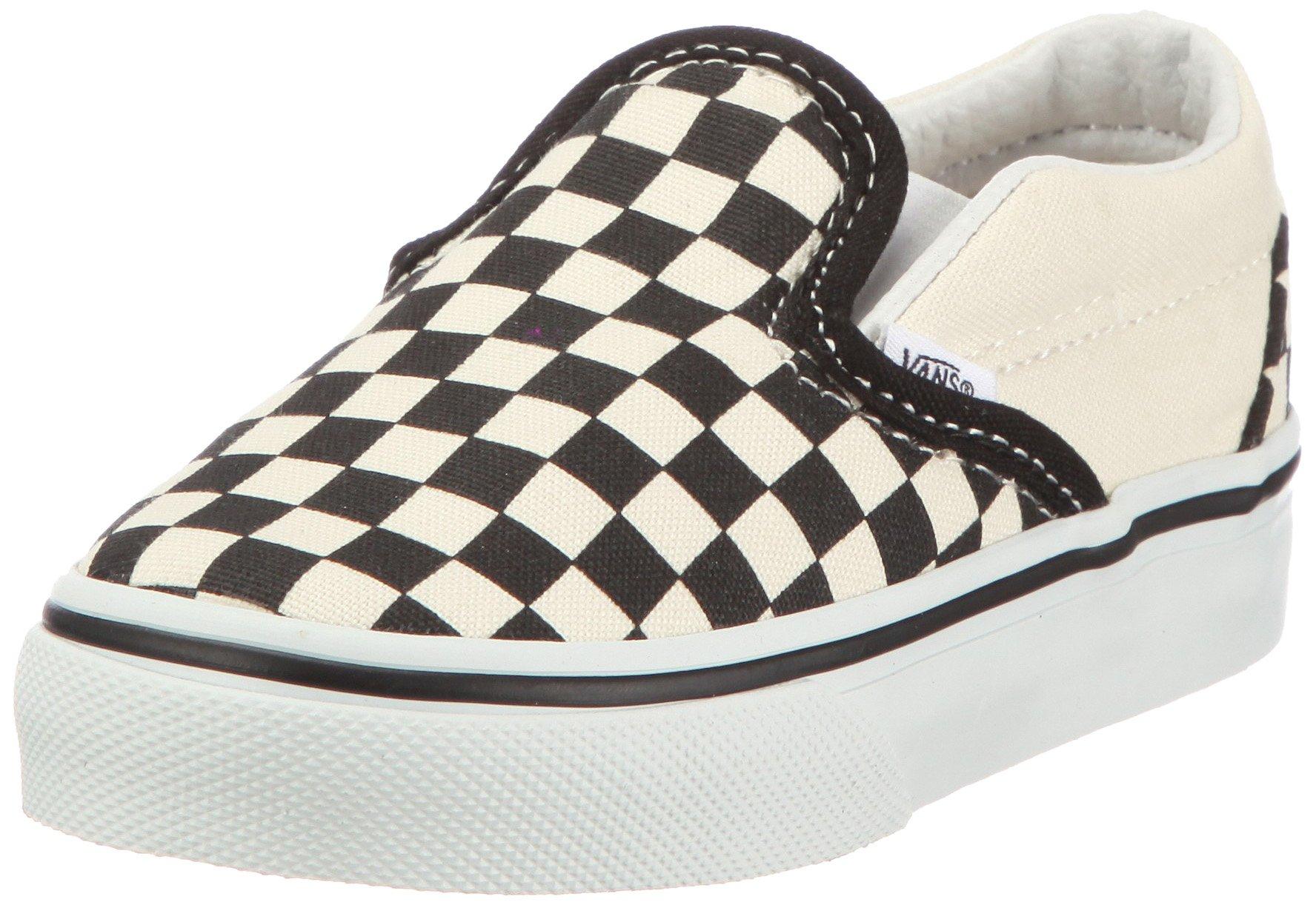 Vans Kids' Classic Slip-ON-K, Black Checkerboard/White, 4.5 M US Toddler