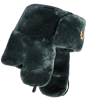 7cabe2f8f Amazon.com: Sheepskin-like faux fur ushanka hat, with Soviet Red ...
