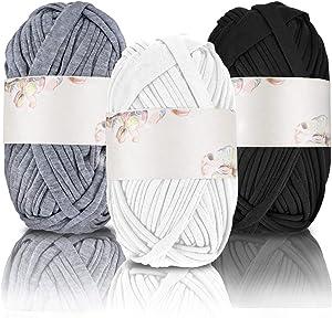 3 Pieces DIY Hand-Knit Woven Yarns T-Shirt Crochet Yarn Basket Braided DIY Craft Yarn Blanket Cushion Knitting Yarn, About 100 g of Each (Black, White, Grey)