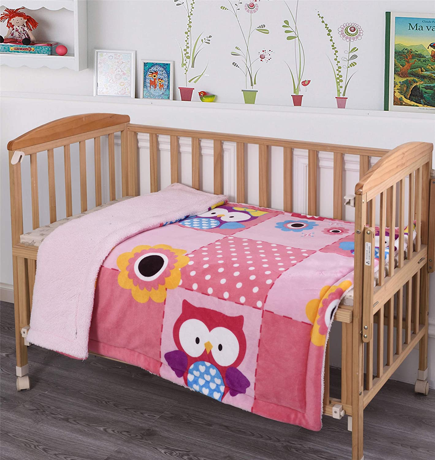 Elegant Home Kids Soft & Warm Pink Owl Design Sherpa Baby Toddler Girl Blanket Printed Borrego Stroller or Baby Crib or Toddler Bed Blanket Plush Throw 40X50 (Owls)