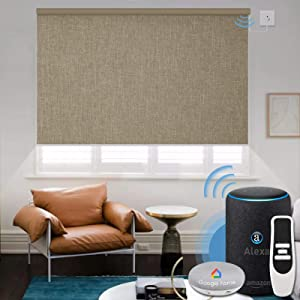 Graywind Motorized 100% Blackout Roller Shade with Alexa Google Smart Home Control Build-in Hardwired Window Shades Thermal Insulated Window Blinds, Customized Size (Coffee)