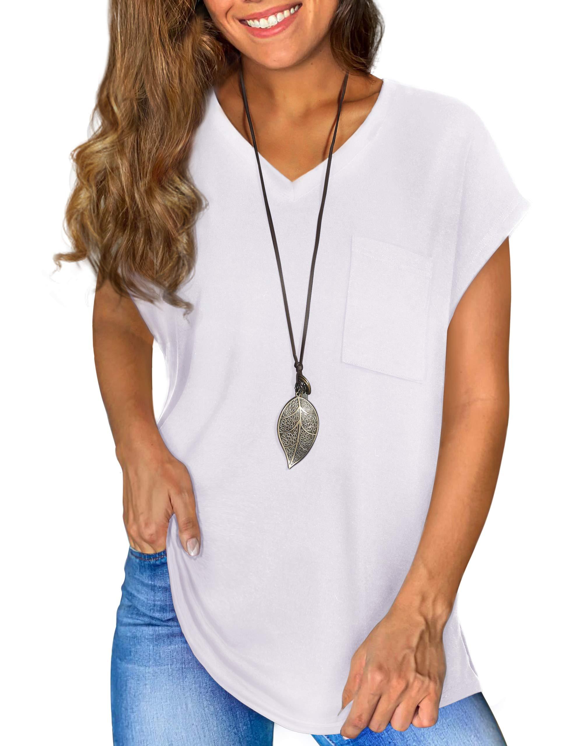 Cooluck Womens Shirts V Neck|Short|Cap Sleeve Loose Casual Pocket Tee TShirt Tops