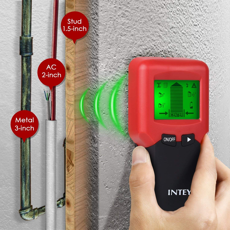 INTEY 3 N1 Detector de Pared, Metal Stud Pinpoint, Madera y AC Cable, Detector de Metales Detector Escáner de Pared Clásico Rojo y Multifuncional, ...