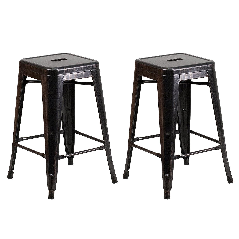 Amazoncom Vogue Furniture Direct 24 High Barstools Backless Black